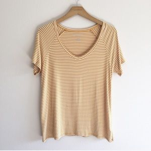 American Eagle Yellow Soft & Sexy Striped Tee